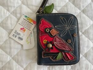 NEW CHALA RED Bird CARDINAL ZIPPERED WALLET Wristlet Navy Blue FAUX LEATHER NWT