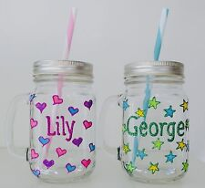 Personalised Birthday Gifts for Girls and Boys Named Mason Jar Glass with Straw