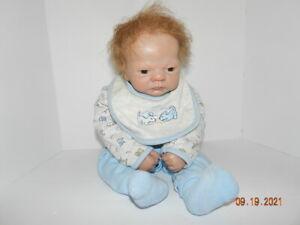 "REBORN baby boy 22"" DOLL BY LW ADG  Ashton drake galleries brown rooted hair"