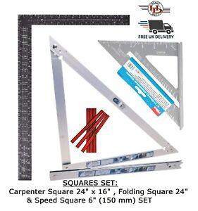 """Folding Square 24"""" (600mm), Carpenter Square 16"""" x 24"""", Speed Square 6"""", Pencils"""