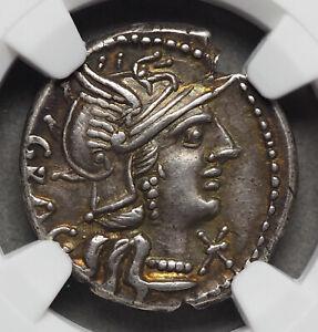 ROMAN REPUBLIC. L. Ant. Gragulus, Silver Denarius, 136 B.C. NGC Ch XF, Toned