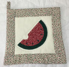 Pot Holder, Hand Made, Appliquéd Watermelon, Floral Calico Prints, Red, Green