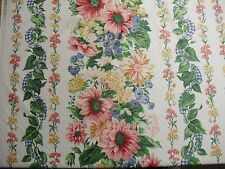 """Vintage 1995 Cyrus Clark """"summer stripe"""" Floral Country Chintz  Fabric"""