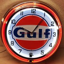 "18"" GULF Gasoline Motor Oil Gas Station Sign Double Neon Clock No Nox Gulftane"