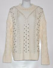 H&M Ladies Beaded Mock Turtleneck Cable Long Sleeve Sweater White Medium (M) NWT