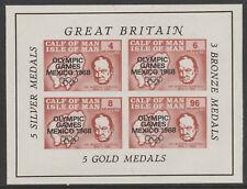 IOM Pantorrilla De Man 6064-Juegos Olímpicos 1968 & Churchill M/Hoja de Menta desmontado