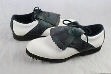 FootJoy GreenJoys Womens Leather Golf Shoes Size 9.5 width M Green Plaid White
