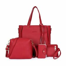 4pcs Women Lady Leather Handbag Shoulder Bags Tote Purse Messenger Satchel Set