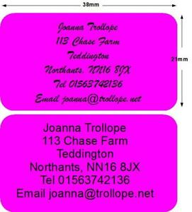 519 stickers labels return Address Personalised Pink
