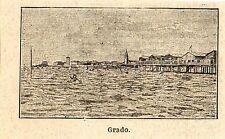 Stampa antica GRADO veduta panoramica in miniatura Gorizia Friuli 1898 Old print