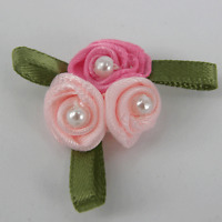 5 x Triple Trio Roses Satin Ribbon Bows With Leaves pink with Pearl R1