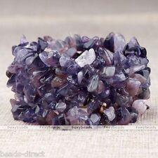 "Natural Amethyst Gemstone Quartz Chip Beads Stretchy Women Bracelet Bangle 7""L"