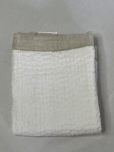 Hotel Collection LINEN Brushstroke Quilted STANDARD Sham White/ Tan
