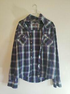 Rock 47 Mens Pearl Snap Button Up Shirt Blue Green Sz Large