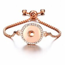 Rose Gold  Rhinestone Pull Closure Bracelet Drill Fit 18mm Noosa Snaps Button