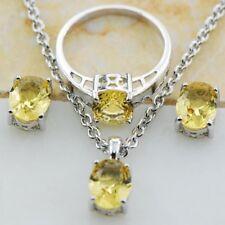 925 Silver Oval Cut Yellow Zircon Rings+Necklace Pendant+Earrings Fashion Set