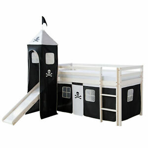 Hochbett Kinder Jugend Spiel Bett Rutsche Turm Vorhang Schwarz 90 cm Homestyle4u