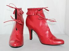 Vintage Newport News Women's Red High Heel Ankle Boots - Size 10 M