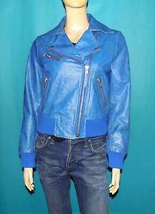 veste LA FERIA en cuir de buffle bleu patiné taille