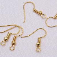 100PCS DIY Gold Sliver Plated Jewelry Making Findings Earring Hook Coil Ear Wire
