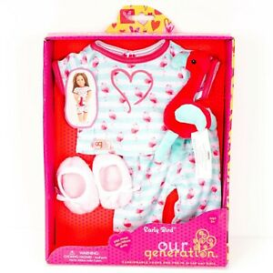 """Our Generation Early Birds Pajamas Clothes for 18"""" Doll New Pink Flamingo PJs"""