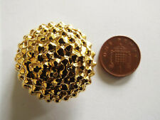 Large Gold Tone Metal Button 3.6cm diameter 1.1cm deep round bobble style