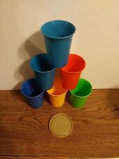 Vintage Lot Of 6 Tupperware Kids Tumblers Sippy Bell With 1 Lid 7 Oz
