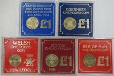UK: 1983-1986 £1 GB, Jersey, Welsh, Scottish, Guernsey, Isle of Man Cased (5)