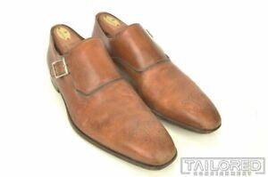 PAUL STUART Brown Leather Medallion Monk Strap Loafer Mens Dress Shoes - 42.5