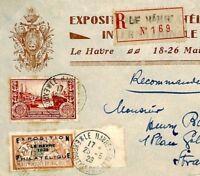 F71c France LE HAVRE EXPOSITION 1929 Overprint Philatelic Exhibition LOGO Cover