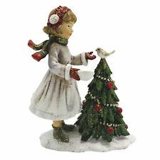 Winterkind mit Baum Deko Figur Christmas Weihnachten Shabby Vintage 9cm