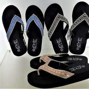 EVE WOMEN'S SANDALS Bling Flip Flops Toe Thong New! 3003 Blue, Black, Champ NWT