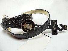 KJL Kenneth Jay Lane Black Croc Faux Leather Adjustable belt M / L NEW Macys