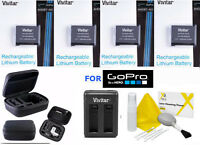 4x AHDBT-401 AHDBT401 ACCESSORY KIT HARD CASE FAST CHARGER GOPRO HERO4 SILVER