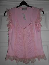 Pink Sleeveless T-shirt with Lace Trimming, Sweetheart Neckline, Size 10