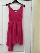 GOLDIE FUCHSIA PINK SHEER FLOATY ASYMMETRIC HEM STRAPPY SKATER SUMMER DRESS - M