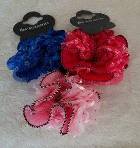 Large 10cm Ruffle Scrunchie with net and ribbons - Choice of 3 Colours