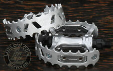 "Silver BearTrap Bike Pedals 9/16"" Vintage Schwinn Cruiser Old School BMX Bicycle"