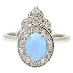Beautiful Blue Fire Opal White CZ Daily Wear Silver Ring 7.0