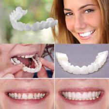 2Pcs White Snap On Smile Comfort Fit Flex Fake Teeth Top Veneer Denture USA