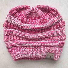 Women Girl Elastic Knit Hat Messy Bun Ponytail Beanie Holey Warm Hats Cap Winter
