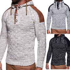 Herren Pullover mit Kapuze Hoodie Strickpullover Strickjacke Sweatshirt NEU