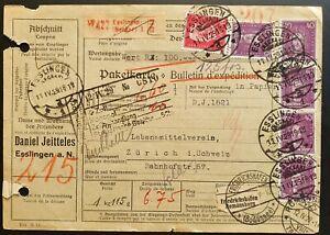 Deutsches Reich 1929, Paketkarte MiF ESSLINGEN - FRIEDRICHSHAFEN nach ZÜRICH
