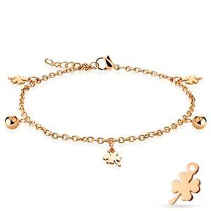 "Stainless Steel 9""-10"" Rose Gold Shamrock and Bead Ankle Bracelet Anklet"