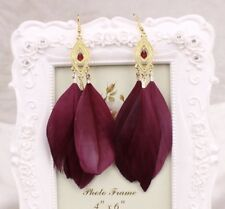 Earring Boho Festival Party Boutique Uk Red Wine Feather Burgundy Large Fashion