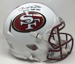 """JERRY RICE Signed """"NFL Top 100"""" White Matte Authentic Helmet FANATICS LE 5/5"""