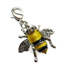 Bee Charm For Bracelet Pendant Silver Plated Black Yellow Enamel CZ Clip On