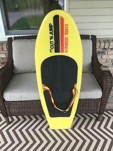 Vintage CUT 'N JUMP Knee Ski Board Yellow Hydroslide Kneeboard