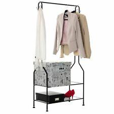 Clothes Rail With Shoe Rack Storage Shelf Hooks Feet Metal Clothes Rack Black