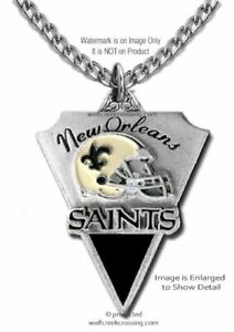 NEW ORLEANS SAINTS NECKLACE NFL FOOTBALL - STAINLESS STEEL CHAIN - FREE SHIP #A